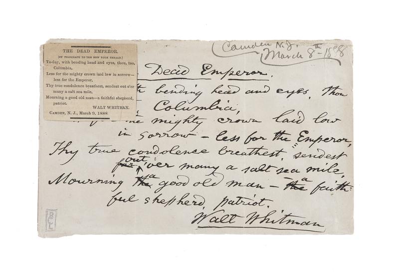 "Autograph manuscript signed (""Walt Whitman""), ""The Dead Emperor"". Camden, New Jersey, March 8, 1888."