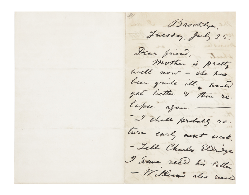 """Autograph letter signed (""""Walt"""") to Ellen """"Nelly"""" O'Connor. Brooklyn, New York, July 25, 1871."""