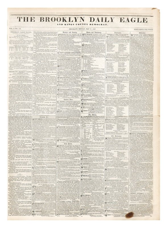 Tane - Brooklyn Daily Eagle, May 17, 1847 - front cover _B3V0472.jpeg