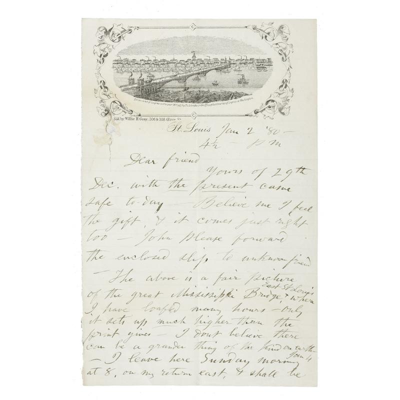 "Autograph letter signed (""Walt Whitman"") to John Burroughs. St. Louis, Missouri, January 2, 1880."